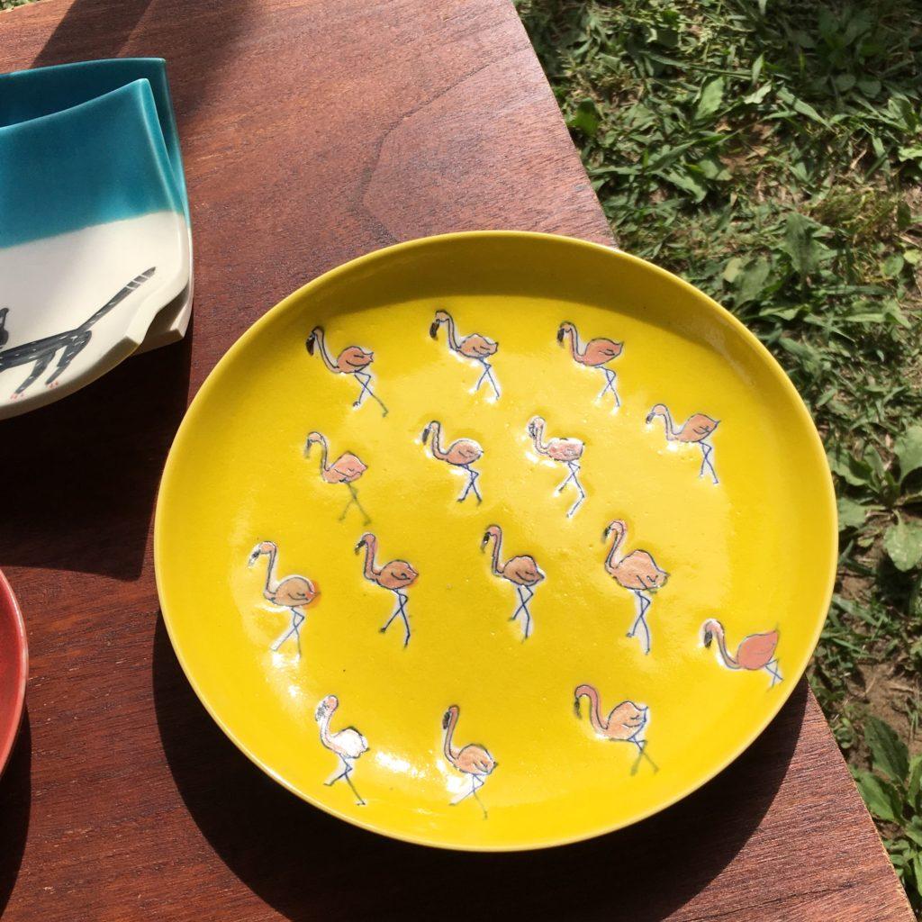 ストロールガレージ stroll garage 陶器市 キダサトコ フラミンゴ皿