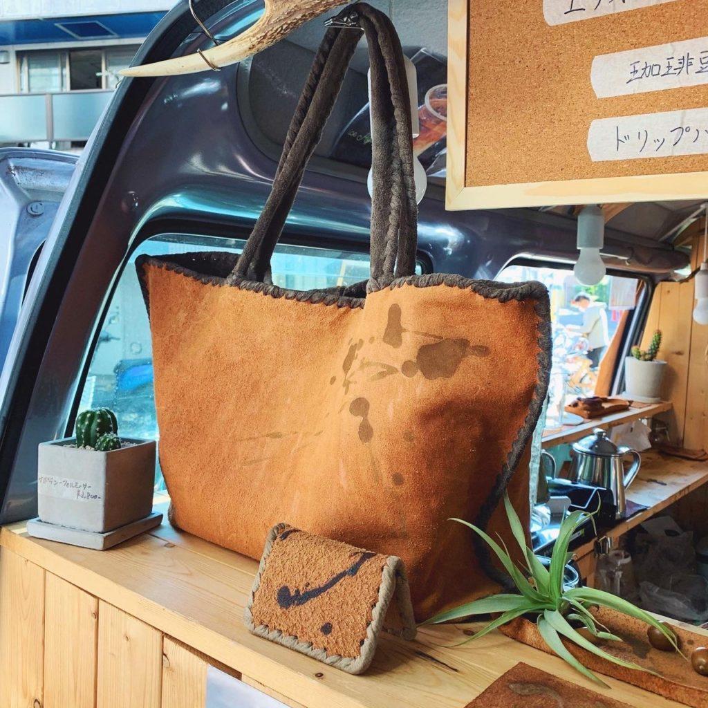 ストロールガレージ ポップアップ カフェたつと 新中野 コーヒー染めバッグ